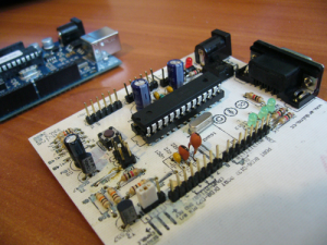 My first etched version in detail (Atmega8 with Ghetto programmer)